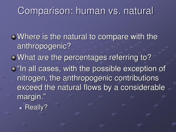 Comparison: human vs. natural