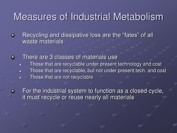 Measures of Industrial Metabolism