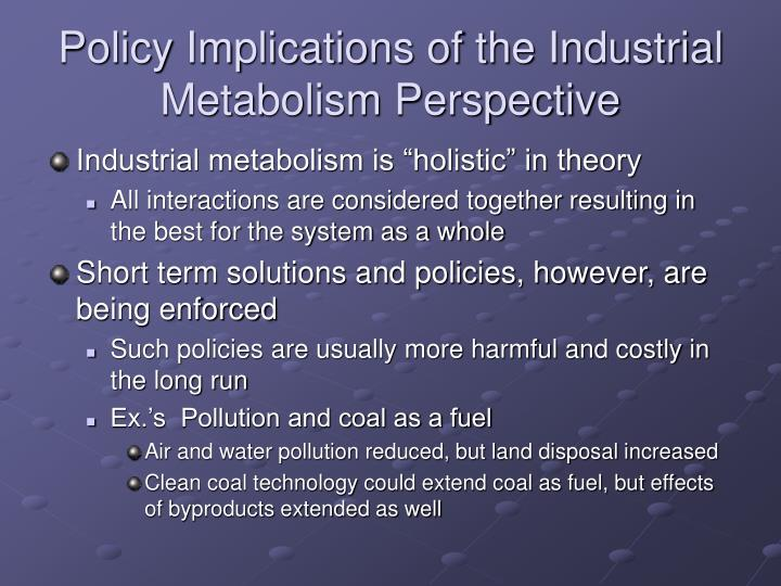 Policy Implications of the Industrial Metabolism Perspective