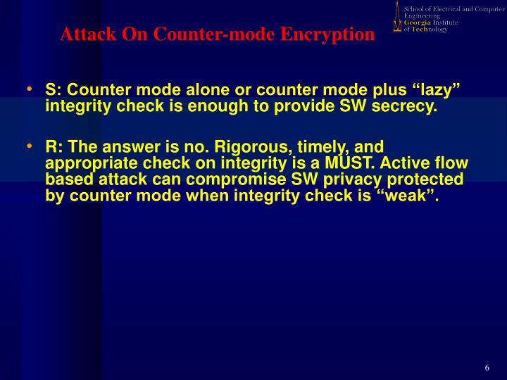 Attack On Counter-mode Encryption