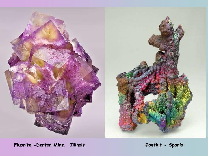 Fluorite -Denton Mine,  Illinois                              Goethit - Spania