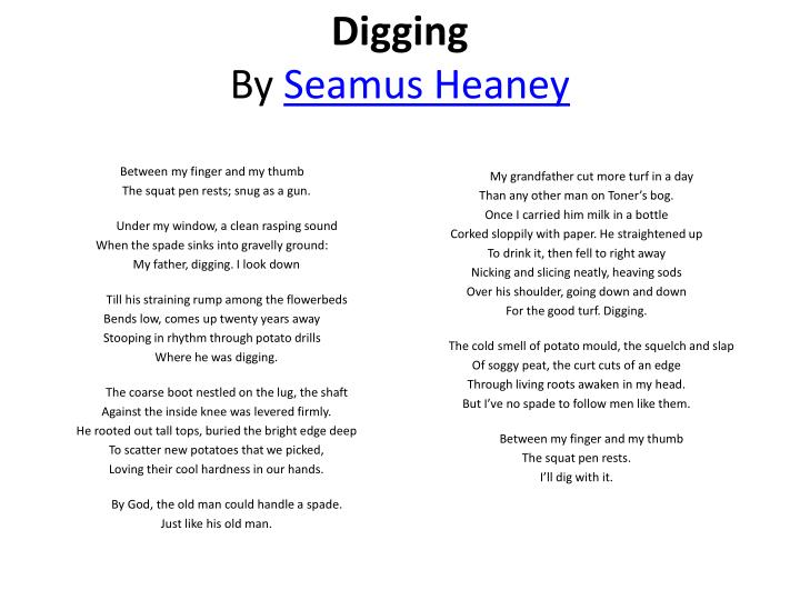 "a literary analysis of digging Digging"" is one of heaney's first top writings and is one of his bestachievements  appearing in one  analysis of seamus heaney's digging digging is a poem."