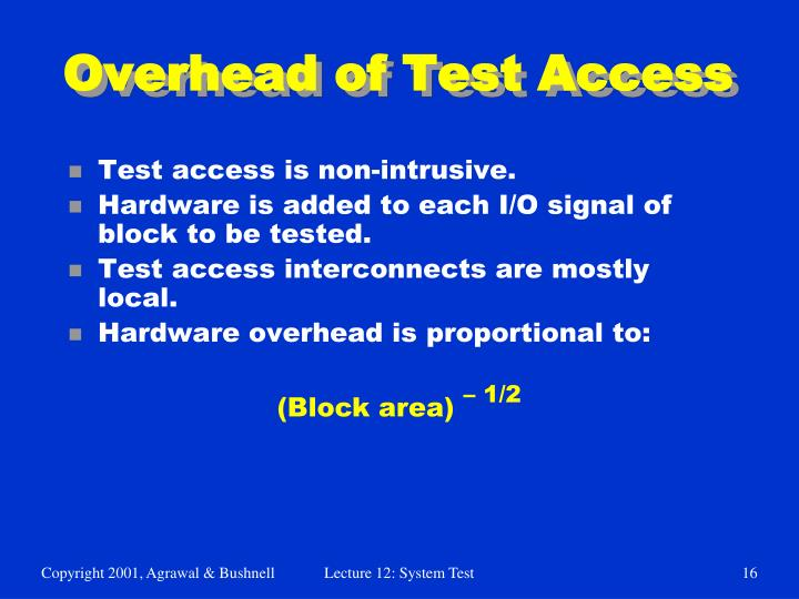 Overhead of Test Access