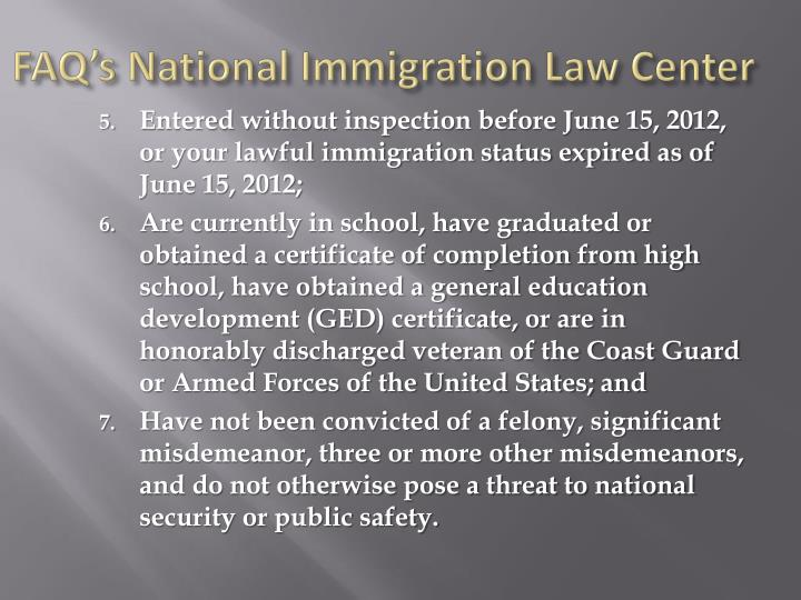 FAQ's National Immigration Law