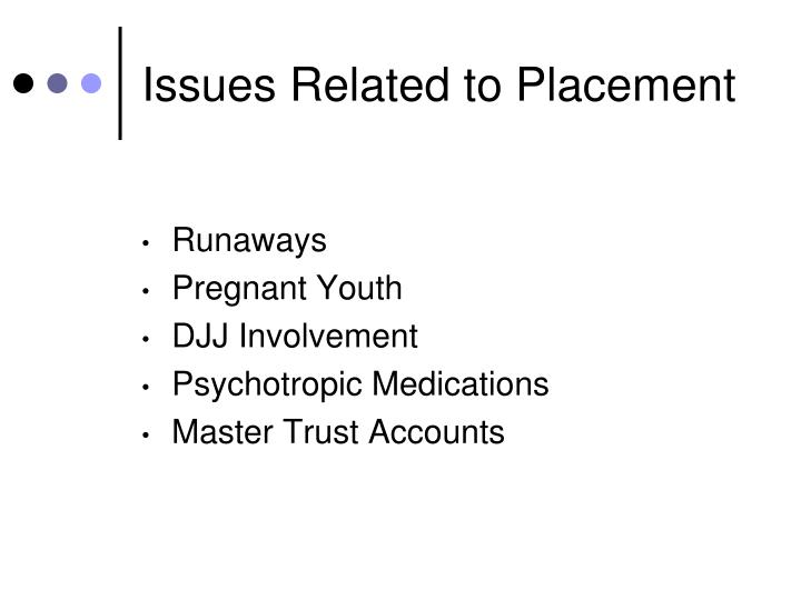 Issues Related to Placement