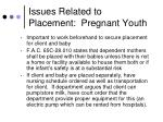 issues related to placement pregnant youth