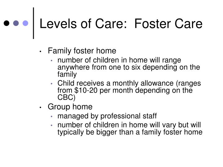 Levels of care foster care