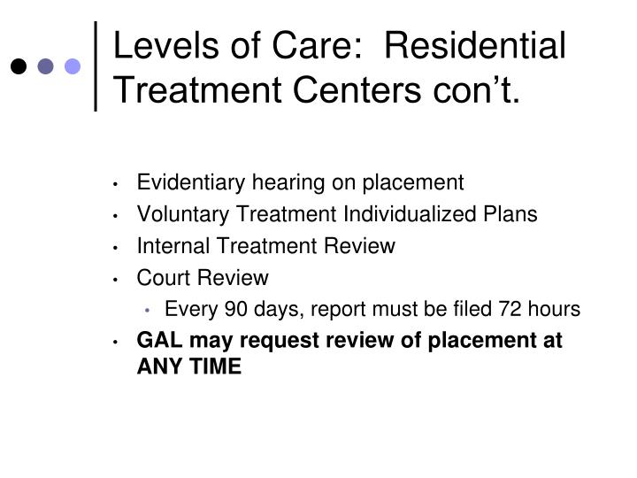 Levels of Care:  Residential Treatment Centers con't.