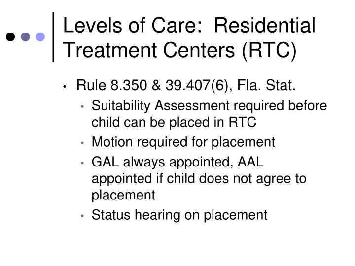 Levels of Care:  Residential Treatment Centers (RTC)