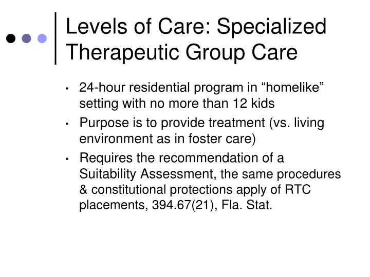 Levels of Care: Specialized Therapeutic Group Care