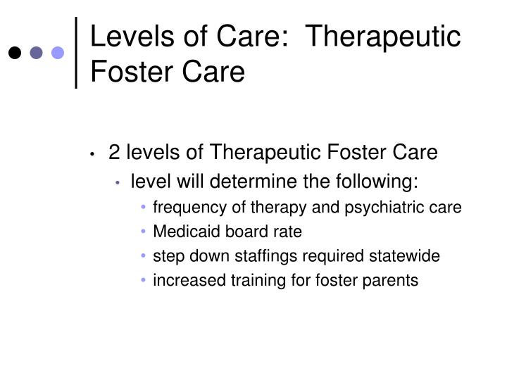 Levels of Care:  Therapeutic Foster Care