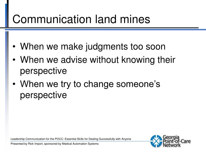 Communication land mines