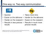 one way vs two way communication