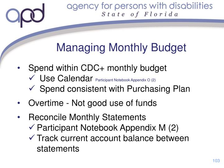 Managing Monthly Budget