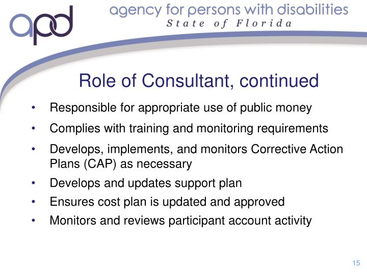 Role of Consultant,