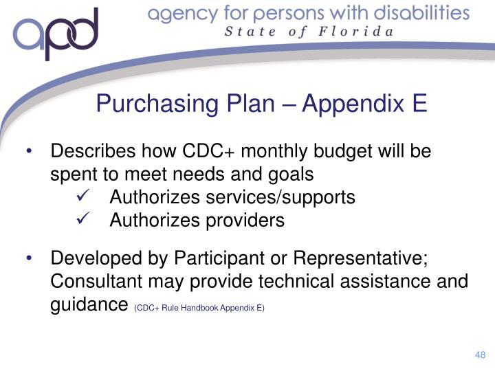 Purchasing Plan – Appendix E