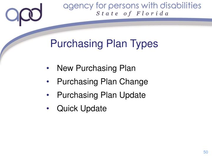 Purchasing Plan Types