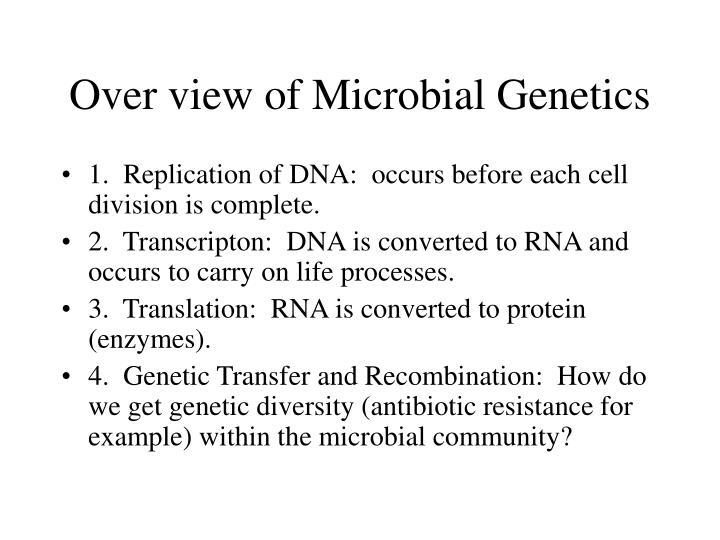 Over view of microbial genetics