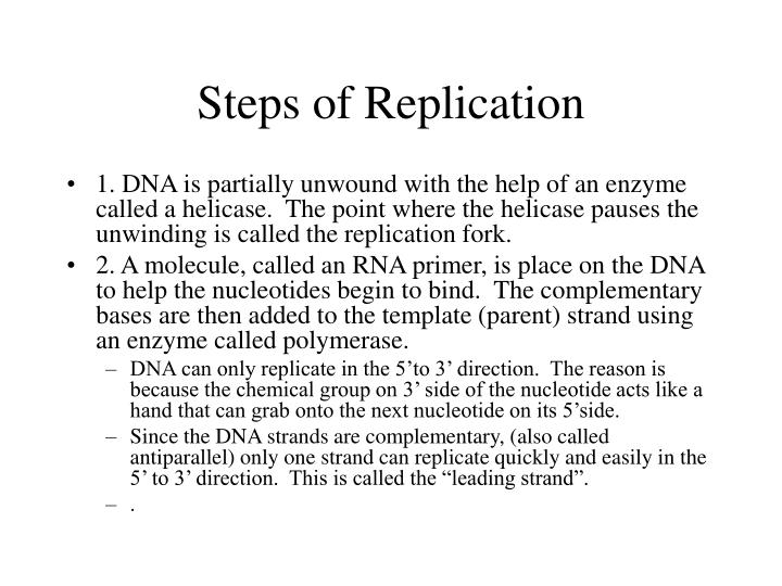 Steps of Replication