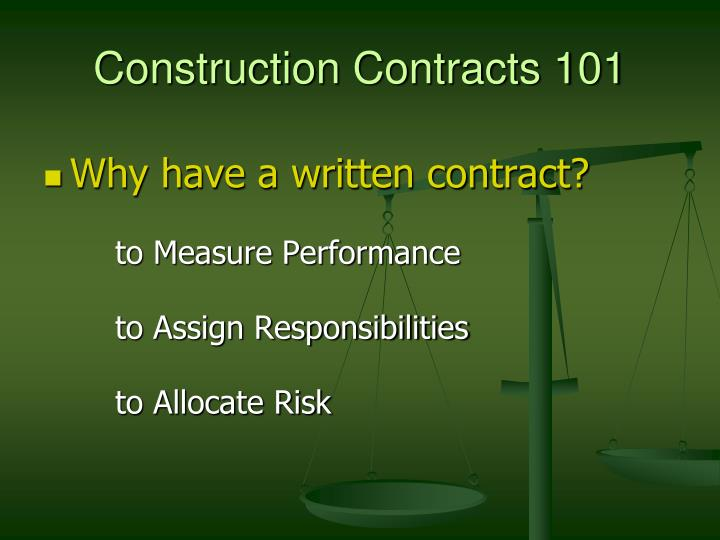Construction Contracts 101