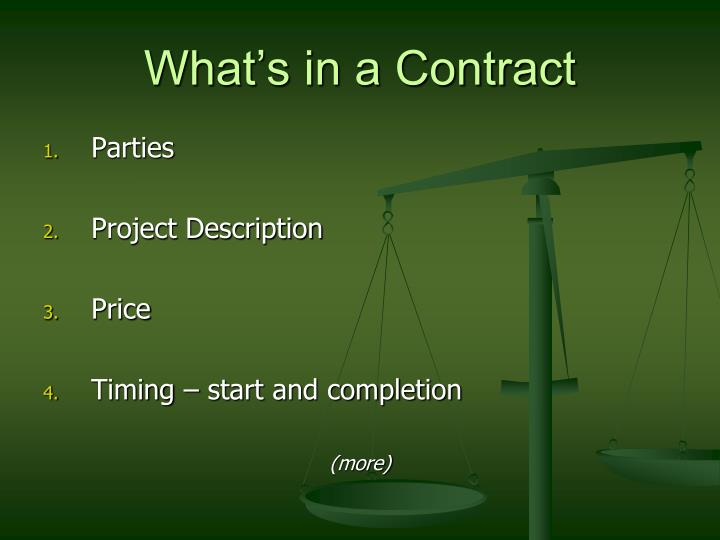 What's in a Contract