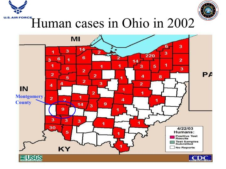 Human cases in Ohio in 2002