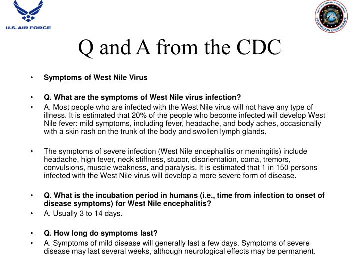 Q and A from the CDC