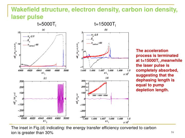 Wakefield structure, electron density, carbon ion density, laser pulse
