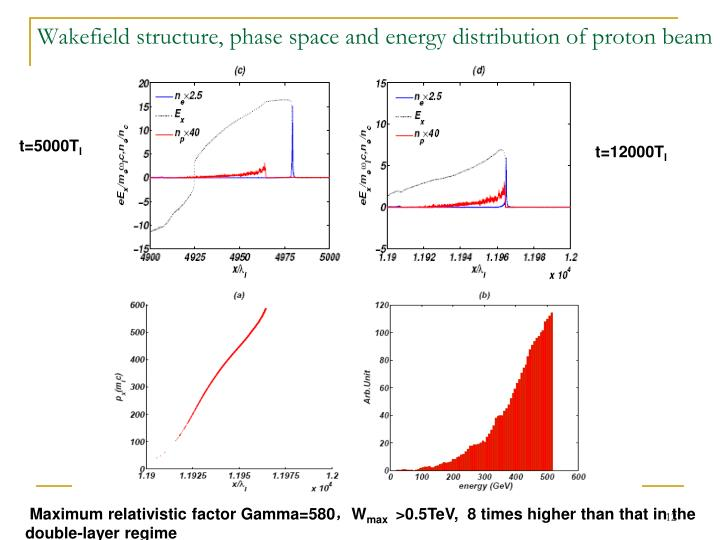 Wakefield structure, phase space and energy distribution of proton beam