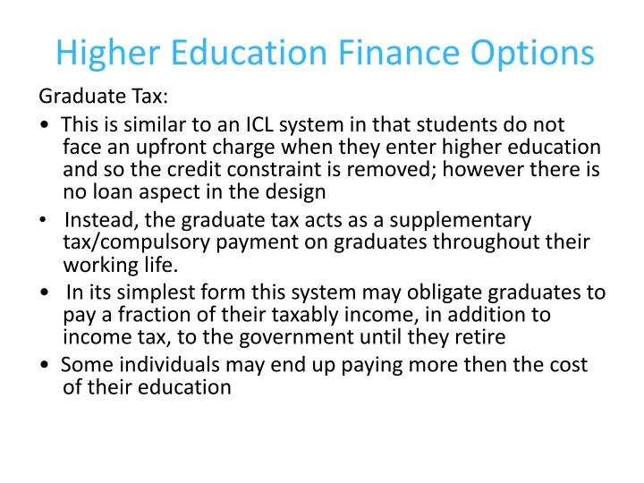 Higher Education Finance Options