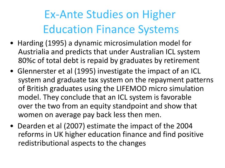 Ex-Ante Studies on Higher