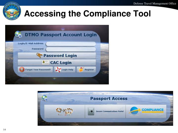 Accessing the Compliance Tool