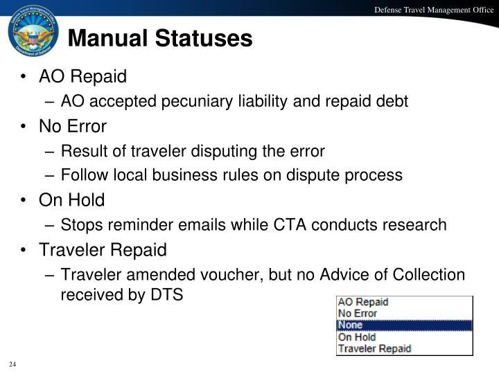 Manual Statuses