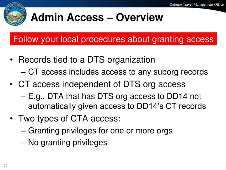 Admin Access – Overview
