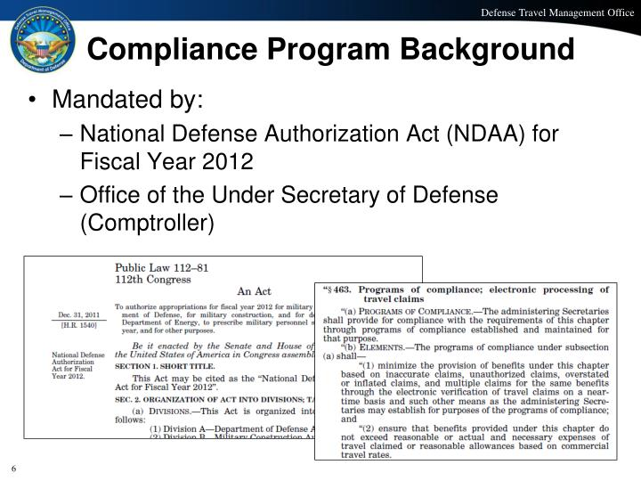 Compliance Program Background