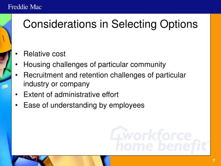 Considerations in Selecting Options