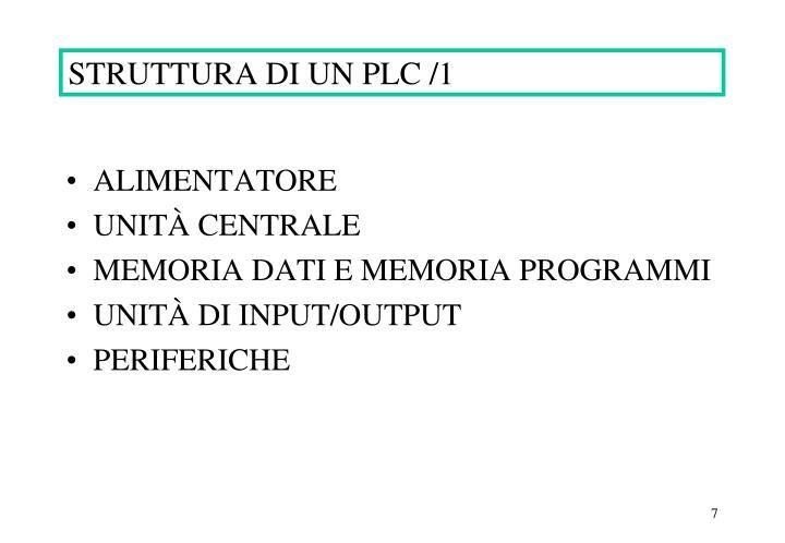 STRUTTURA DI UN PLC /1