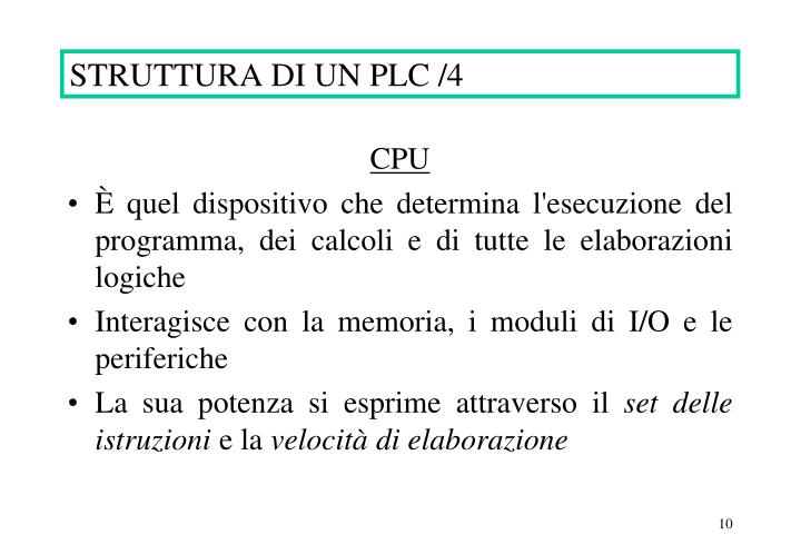 STRUTTURA DI UN PLC /4