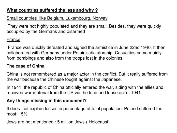 What countries suffered the less and why ?