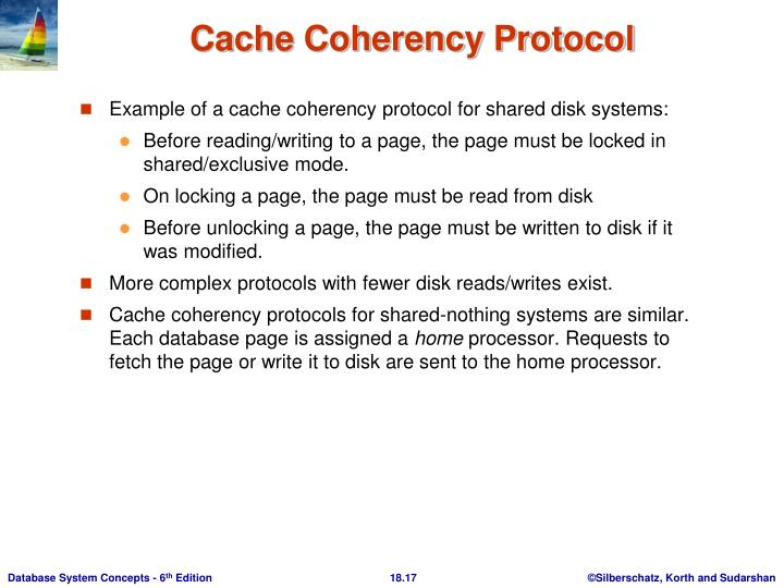 Example of a cache coherency protocol for shared disk systems: