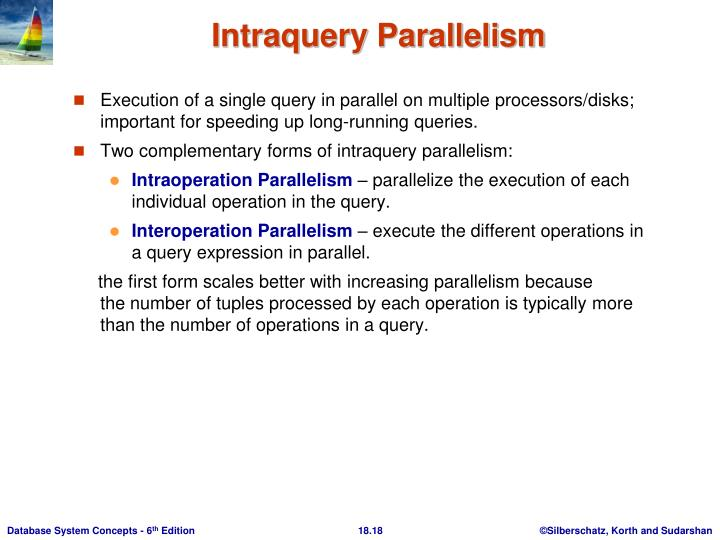 Execution of a single query in parallel on multiple processors/disks; important for speeding up long-running queries.