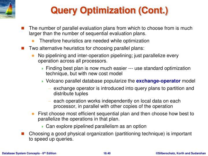 Query Optimization (Cont.)