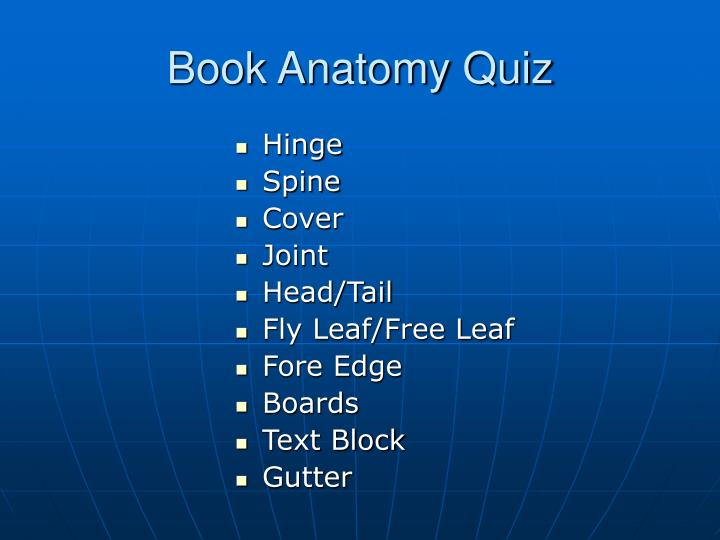 Book Anatomy Quiz