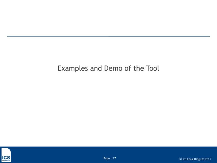 Examples and Demo of the Tool