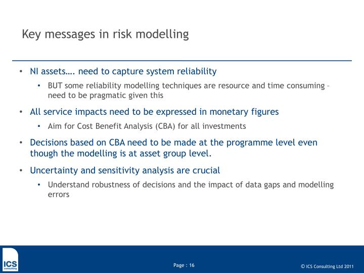 Key messages in risk modelling