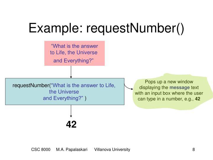 Example: requestNumber()