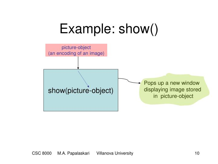Example: show()