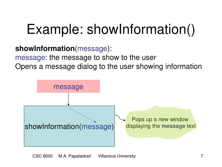 Example: showInformation()