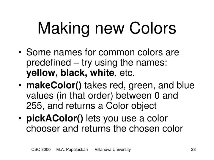 Making new Colors