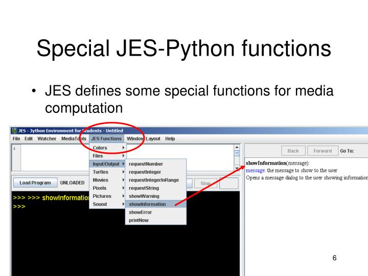 Special JES-Python functions